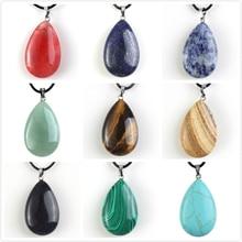 купить FYJS Unique Jewelry Summer Style Water Drop Malachite Stone Pendant Green Green Aventurine Necklace по цене 168.69 рублей