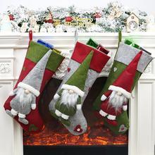 New Year Christmas Decoration Socks Bag Gift 2019 Stockings Tree Ornament Santa Claus Doll Packaging