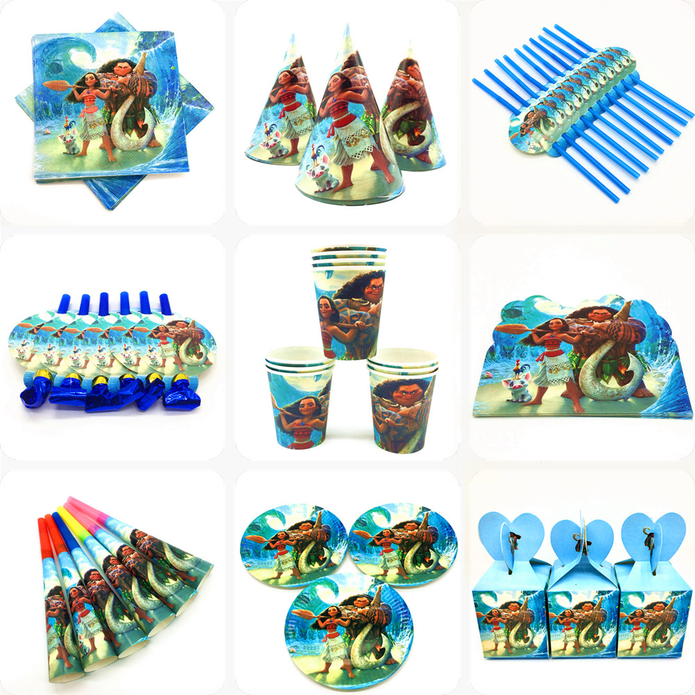 Disney Moana Birthday Party Decoration Supplies Kids Baby Shower Tableware Cups Plates Banners Balloons Favors Event Decor Gift