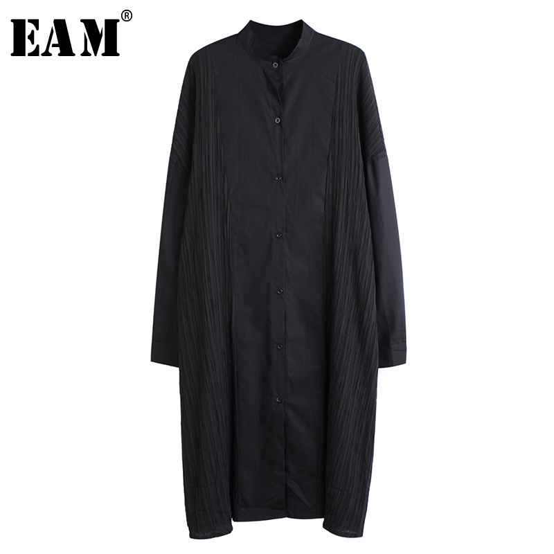 [EAM] Womenpleated Split Joint Big Size Shirt Dress New Stand Collar Long Sleeve Loose Fit Fashion Tide Spring Autumn 2020 1S284