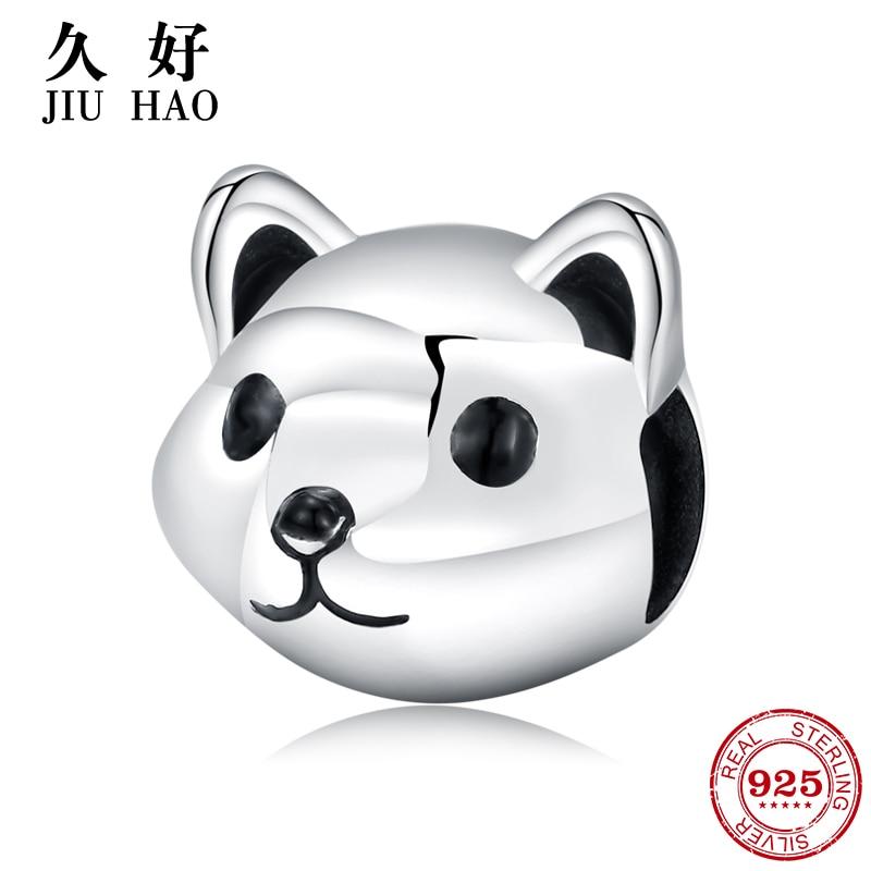 Real 925 Sterling Silver Dog Animal Beads Loyal Partners Akita Cute Puppy Fit Original Pandora Charms Bracelet Jewelry Making