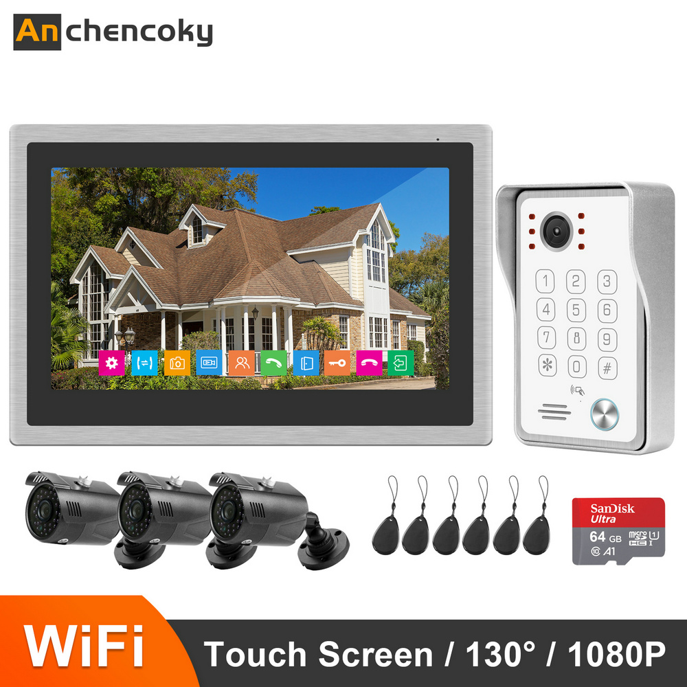 Anchencoky 10 Inch Wireless Wifi Smart IP Video Doorbell Intercom System 1080P Doorbell Camera with Record Motion Detection Kit