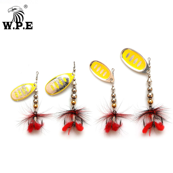 W.P.E KOMODO 1pcs Spinner Lure 11.1g/16.9g Metal Fishing Lure Artificial Hard Bait Feather Spoon Fishing Tackle  Crankbait Pike ftk fishing lure spinner bait lures 1pcs 8g 13g 19g metal bass hard bait with feather treble hooks wobblers pike tackle