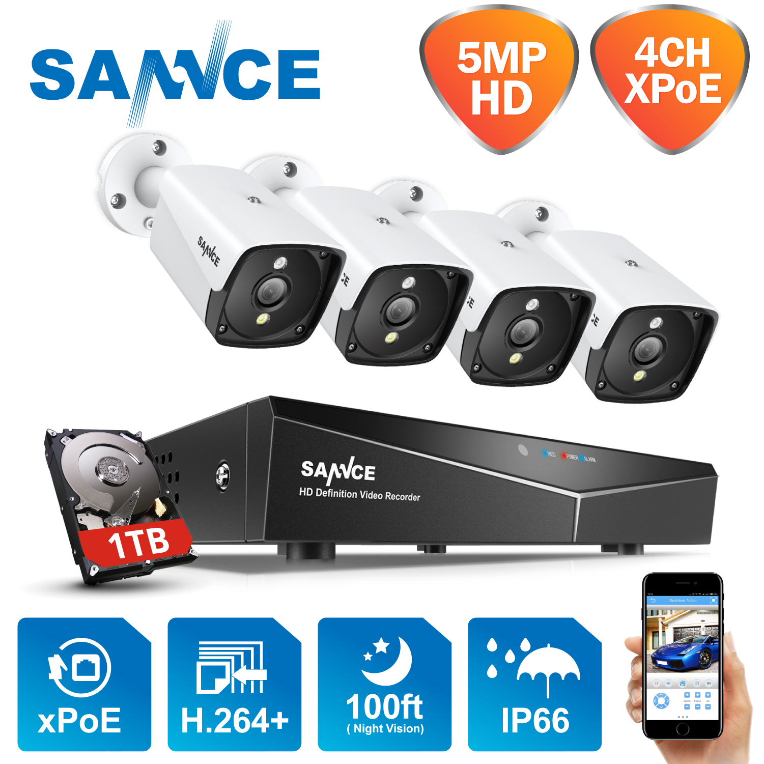 SANNCE H.264+ 4CH 5MP POE Security Camera System Kit 4PCS 5MP HD IP Camera Outdoor Waterproof CCTV Video Surveillance NVR Set image