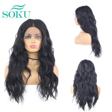 Grey Black Color SOKU Synthetic Lace Front Wigs For Black Women 18 Inch Wave L