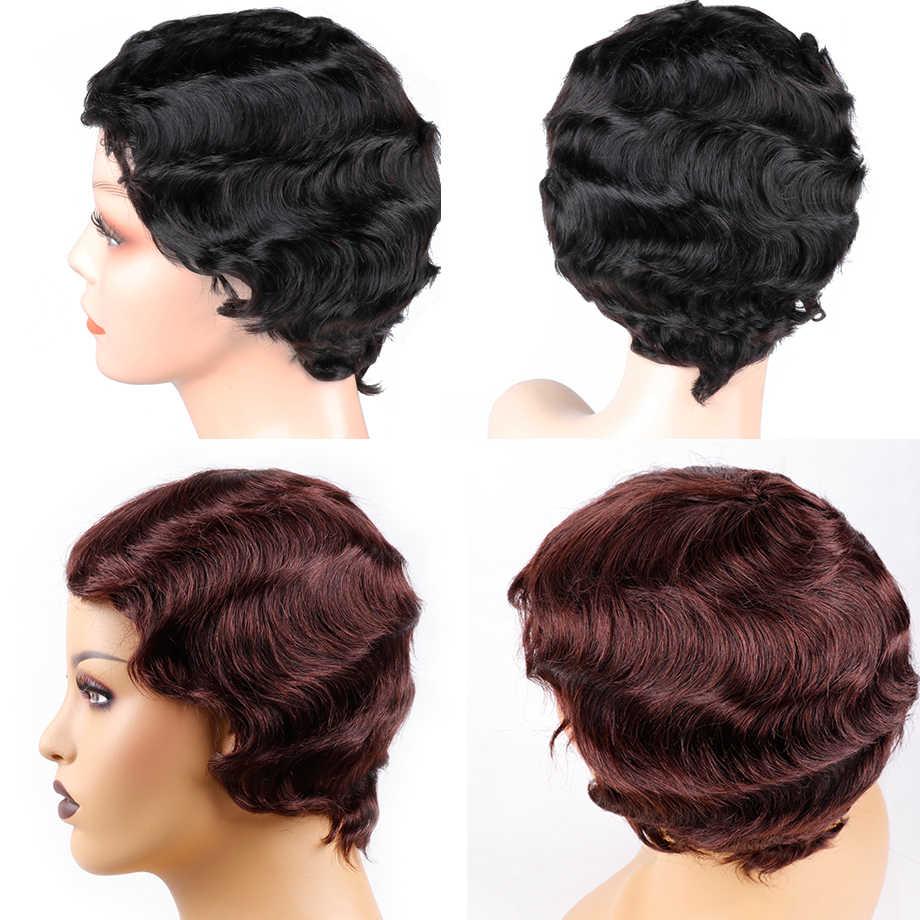 Piaoyi Pixie Cut Kurz Menschliches Haar Perücken Natürliche Schwarz Brasilianische Ozean Welle Nicht-Remy Menschenhaar Volle Maschine Perücken für Schwarze Frauen