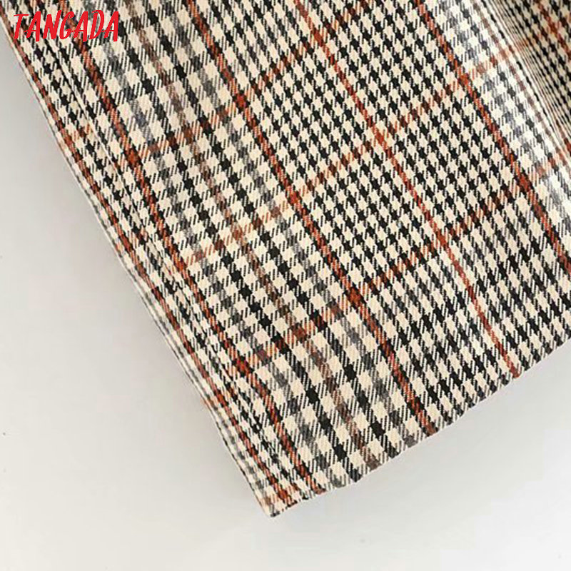 Tangada England fashion women plaid pattern dress with belt o neck Long Sleeve Ladies mini Dress Vestidos 6P17 4