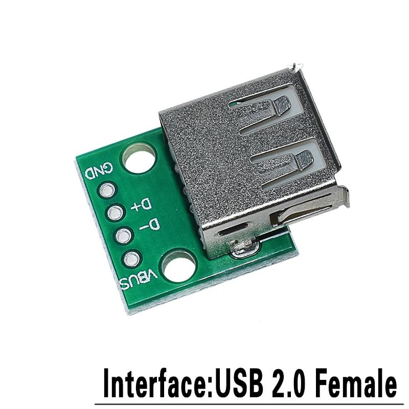 5 шт. USB Мужской разъем/MINI MICRO USB для DIP адаптер Женский Разъем 2,54 Разъем b type-C USB2.0 3,0 женский PCB конвертер - Цвет: USB2.0 to DIP