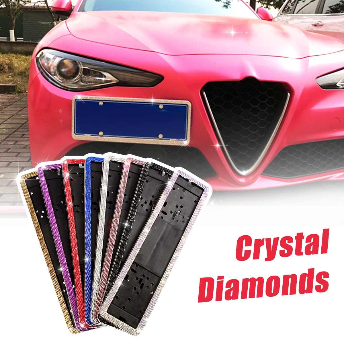 1PCS Russian Car European License Plate Frame Crystal License Plate Frame Luxury Rhinestone Car Frame Plate