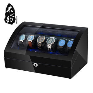 Watch-Winder-Box Automatic 6 with Led-Light Storage Collection Display Quiet-Motor PE