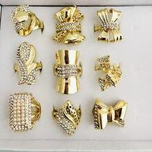 Bague Vintage en cristal pour femmes, marque turque, Design, couleur or, bijoux ethniques de mariage, taille cadeau, échantillon aléatoire pour la livraison