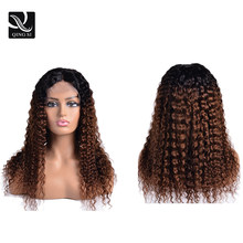 Ombre Deep Curly Wigs Black to Brown Side Part Long Deep Wavy Wig With Brazilian Remy Lace front Human Baby Hair Pre Plucked(China)