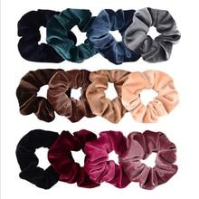 4PCS/Set Korea Velvet Scrunchie Rubber Elastic Hair Bands Solid  Women Girls Headband Ponytail Holder Ties Rope Hair Accessories