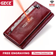 GZCZ Women Clutch Wallets 100% Genuine Leather RFID Multiple Cards Holder Long Fashion Female Coin Purse With Phone Bag 2020