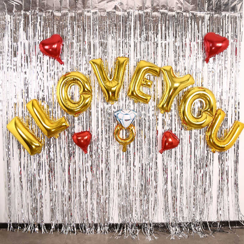2m 3m gold silver foil curtain tinsel fringe curtain birthday party decoration wedding photography backdrop curtain photo props