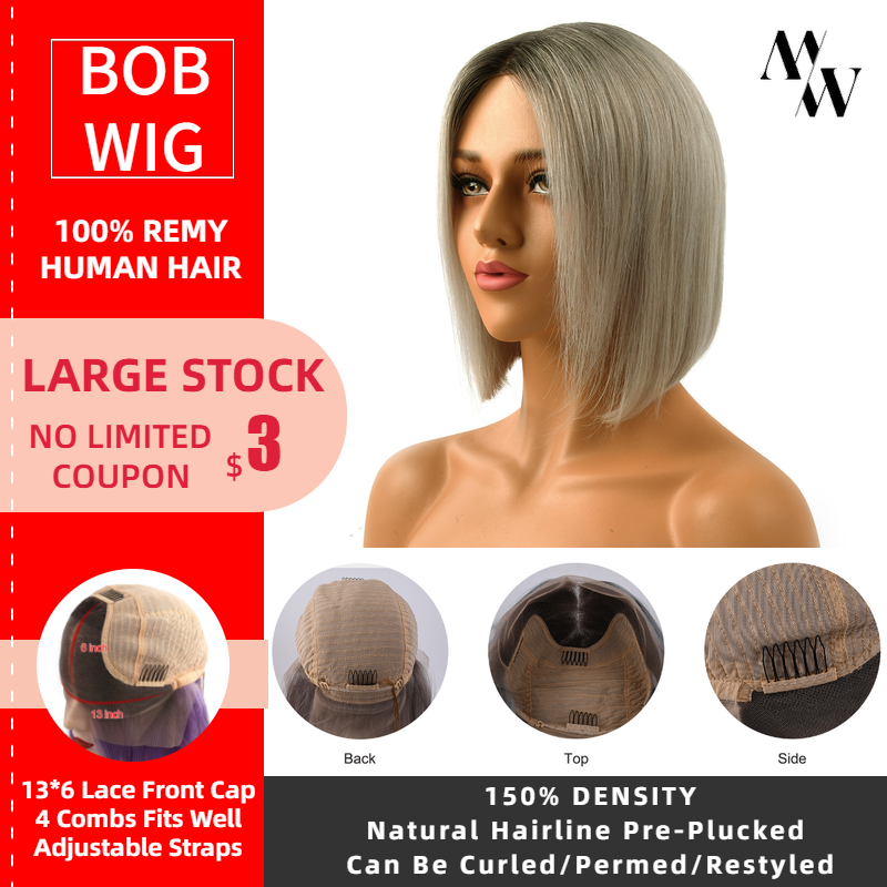 MW Short Bob Lace Front Human Hair Wigs Brazilian Straight Bob Silver Color Lace Front Wigs Pre Plucked For Women