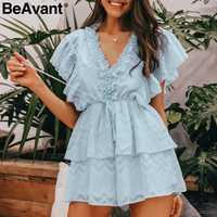 BeAvant V-neck ruffle elegant women rompers Summer combishort high waist female jumpsuit Casual ladies short overalls playsuit