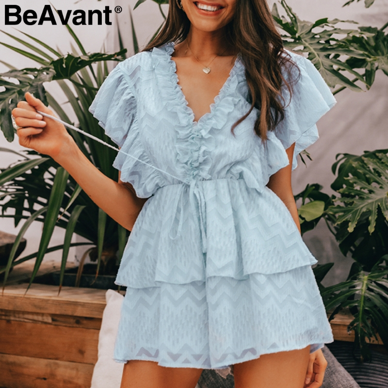BeAvant V-neck Ruffle Elegant Women Rompers Summer Combishort High Waist Female Jumpsuit Casual Ladies Short Overalls Playsuit