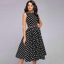 Vestido de impressão de ponto feminino elegante sem mangas vintage zip retro na altura do joelho vestido vestidos elegantes para mujer