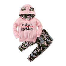 Cotton Girl Tracksuit 0-24M Toddler Kids Baby Girl Clothes Sets Letter Print Hoodie Top Camouflage Pants Outfit Sets Tracksuit newborn kids outfit baby boy girl clothes hoodie sweatshirttops pants gift sets