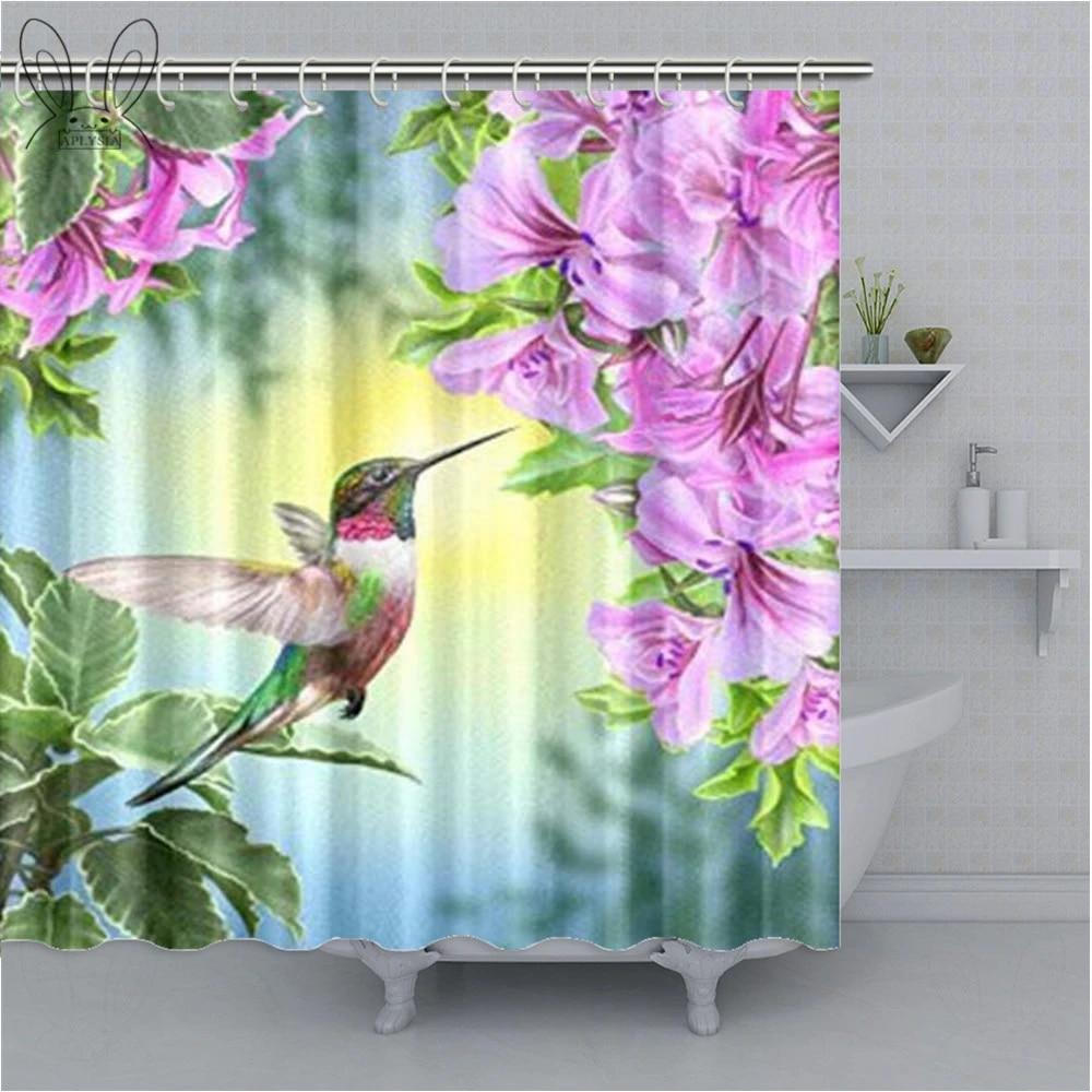 hummingbirds shower curtain art with colibri bird and tree branch bathroom curtain romantic springtime curtain sets