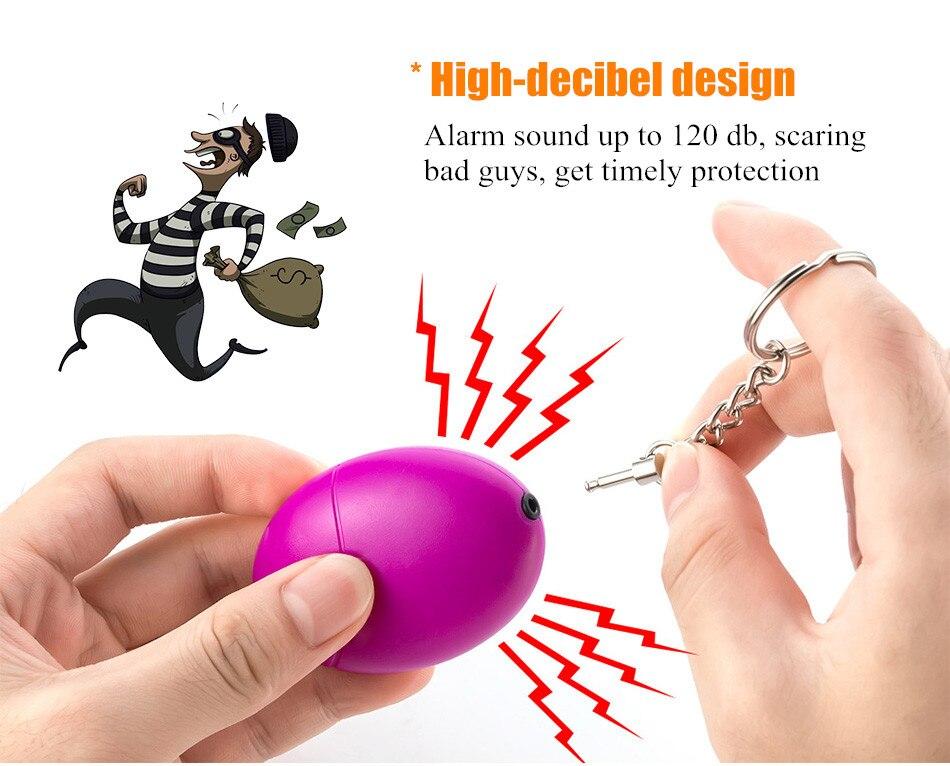 Self-defense Siren 120dB Egg-shaped Girl Women Security Protection Alarm Personal Safety Scream Big Keychain Emergency Alarm