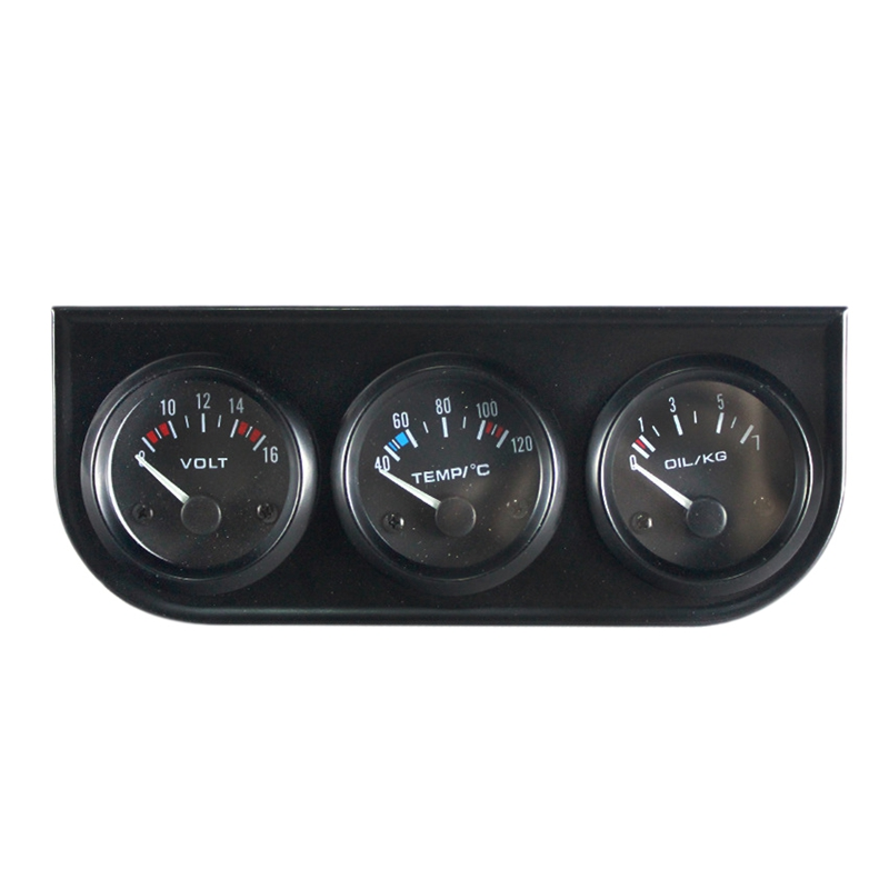 52mm 12V Car Gauge 3 in 1 Voltage / Water Temp / Oil Pressure / Oil Temperature Black Frame Triple Meter