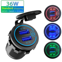 12V/24V 36W QC 3,0 2 USB Ladegerät Buchse Touch Schalter Wasserdicht Universal Auto Lkw Lade socker Für Telefon Tablet Kamera GPS