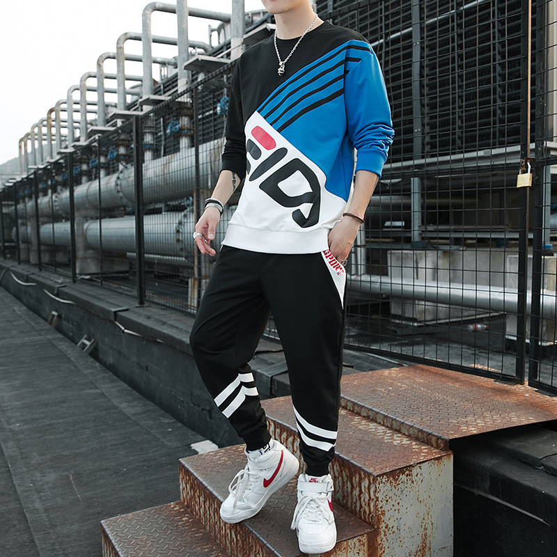 Men Slim Color Stitching Letter Printing Sports Suit Long Sleeve T-Shirt+Pants 2-piece Sport Running Set