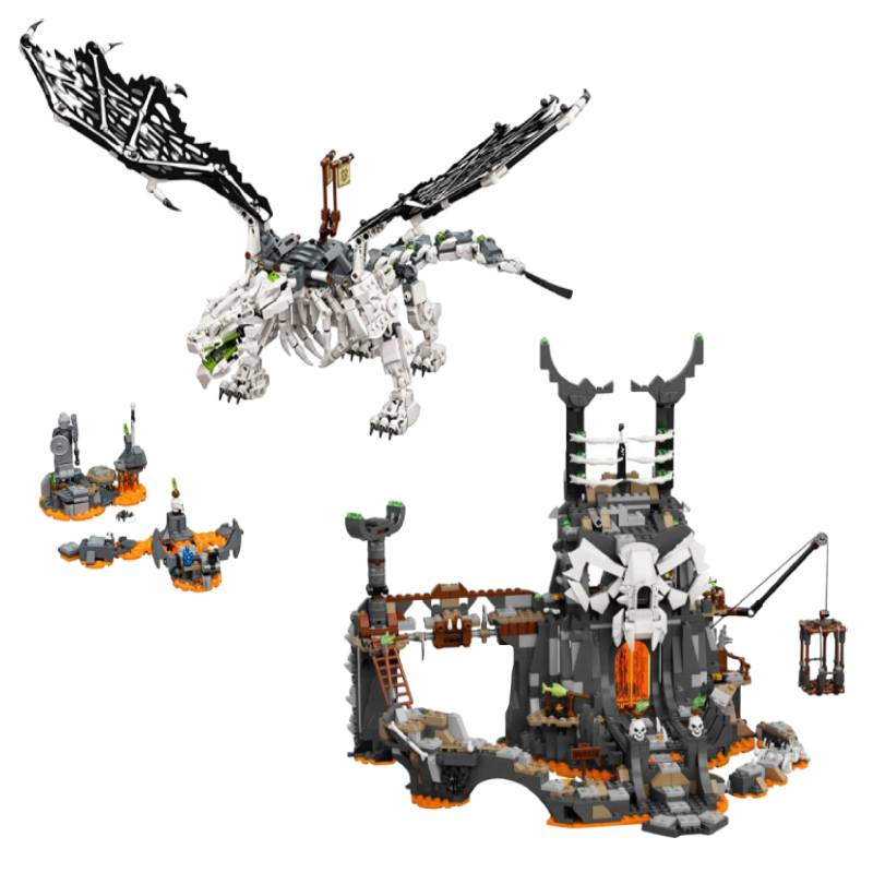 Skull Sorcerer Dragon and Dungeon with Figures Building Blocks Bricks Compatible with 71721 71722