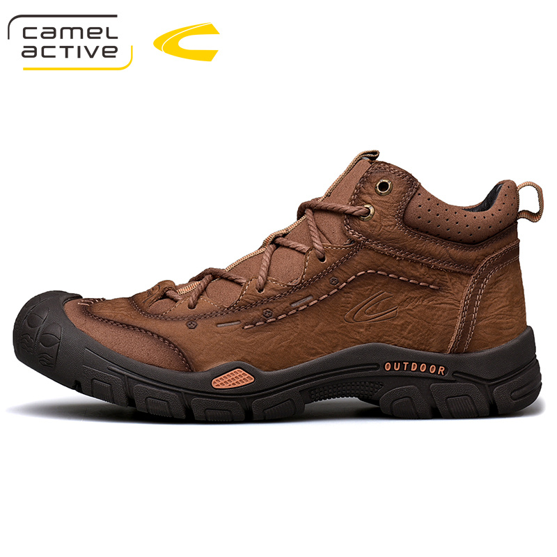 2020 Winter New Brown Leather Outdoor Shoes Men's Tooling Shoes High Top Shoes Wear Resistant Leather Shoes Men