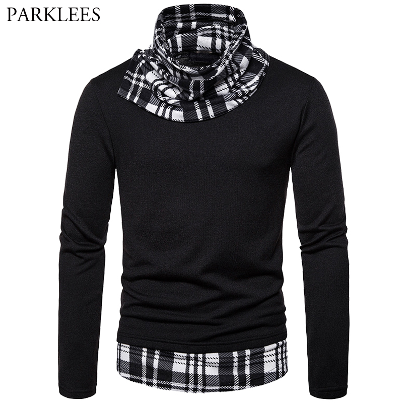 Black Turtleneck Men Sweater Splice Big Plaid Mens Knitted Fake Two Pieces Sweater Dress Fall Winter Mens Casual SweatersXXL