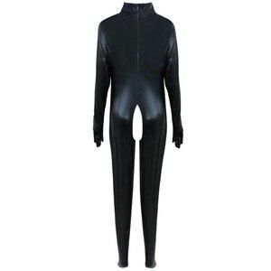 Image 3 - بدلة للجسم جذابة مصنوعة من الجلد الصناعي بتصميم رطب بدون كروتشليس بدلة Catsuit لارتدائها أزياء لعشيقة بالقدم مقاس كبير