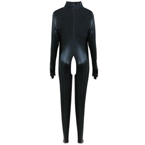 Image 3 - Suni deri seksi Bodysuit Crotchless islak bak Catsuit esaret fetiş tulum Zentai ayaklı metresi kostüm artı boyutu