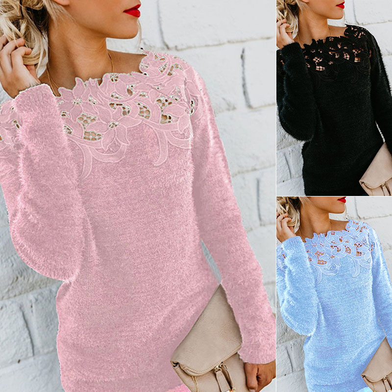 Sexy Black Lace Women Hollow Sweaters Long Sleeve Pullover Tops Sweater Ladies O Neck Jumper Hollow Out Knitwear Plus Size