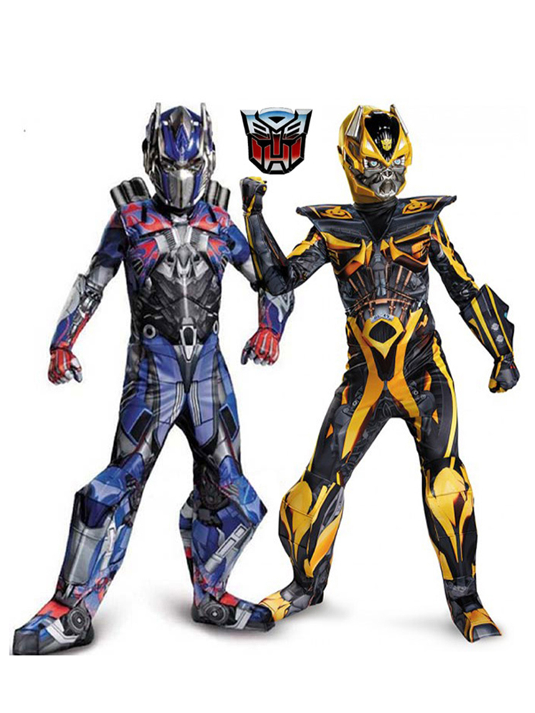 Cosplay Movie Costumes Bumblebee Superhero Muscle Carnival Kids Boys Optimus-Prime Body-Suits