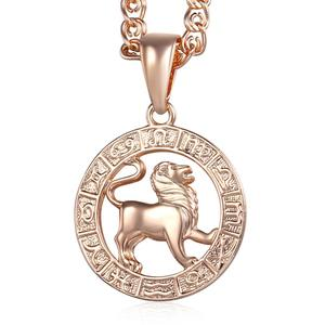 Leo 12 Zodiac Sign Necklace 585 Rose Gold Pendant Necklace Male Jewelry Fashion Constellations Jewelry GP182