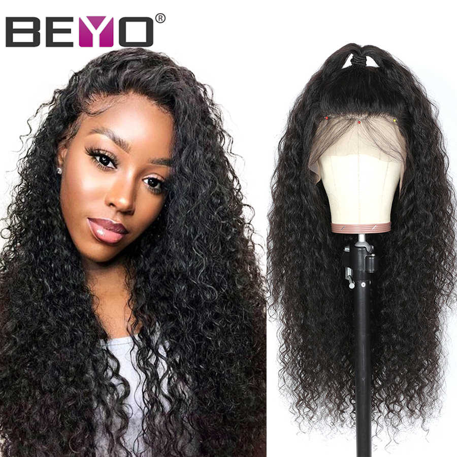Brazilian Water Wave Wig 13X4 Lace Front Human Hair Wigs For Black Women 150 180 250 Density Curly Lace Front Wig Beyo Remy Wigs