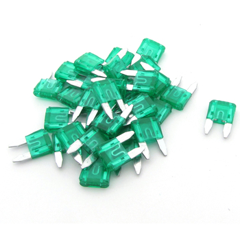 30 Pcs 30A Small Size Blade Fuses Green for Vehicle Car Auto Stereo image