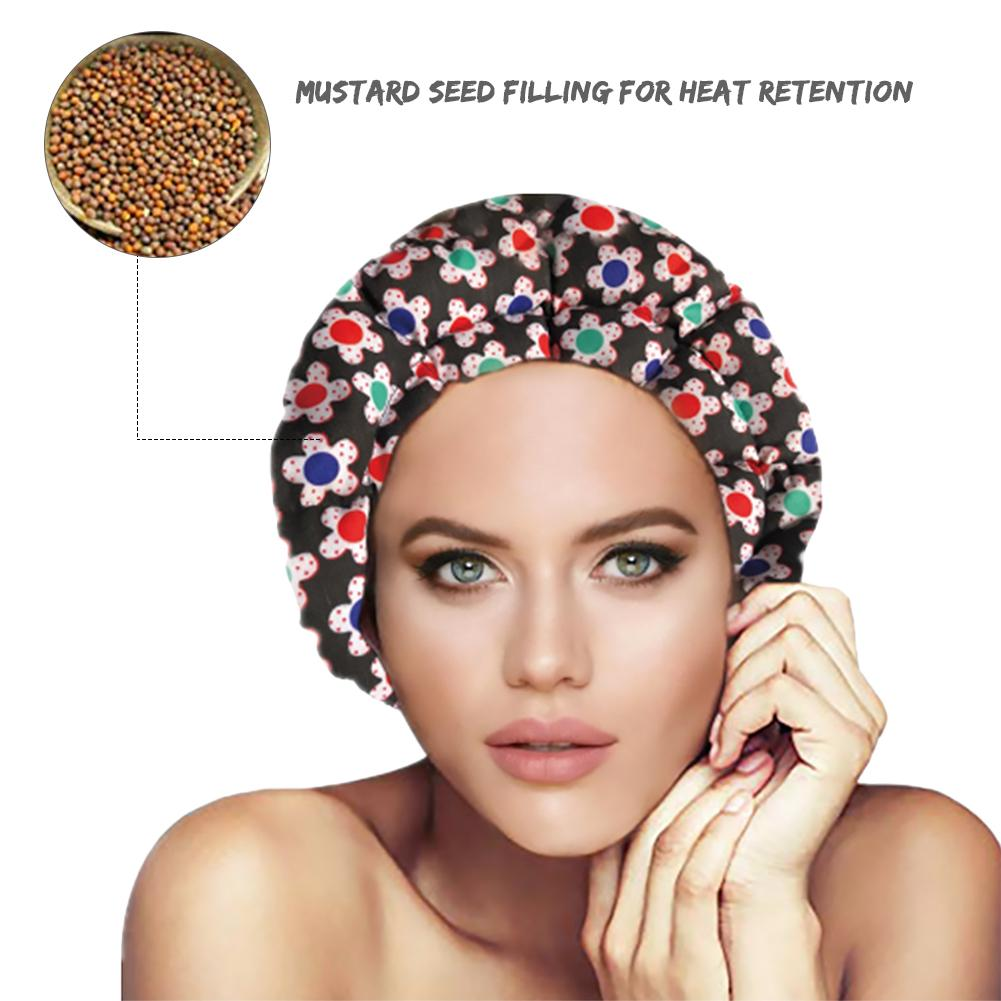 Microwavable Heat Cap Therapy flaxseed Interior for Maximum Retention and Deep Conditioning Hair
