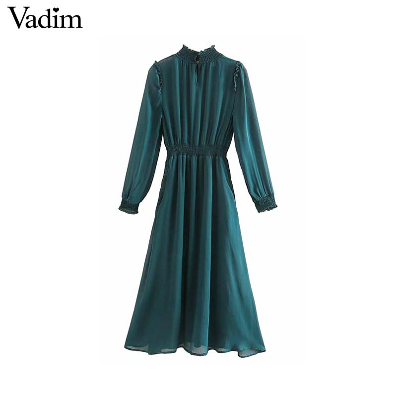 Image 2 - Vadim women chic chiffon green midi dress long sleeve elastic waist see through female stylish chic solid dresses vestidos QD138Dresses   -