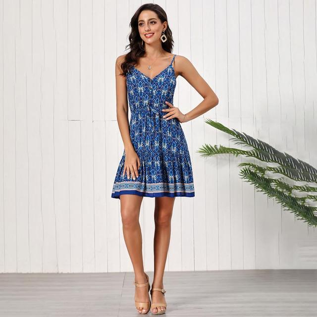 Fashion Women Summer Dress Sleeveless V-neck Drawstring Loose Short Dress High Waist Printed Sexy A-line Dress Backless Vestidos 3