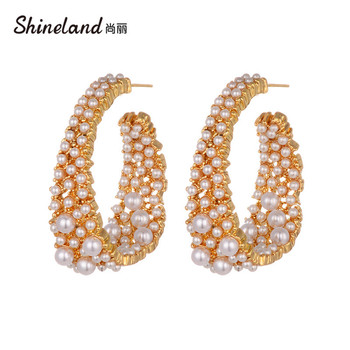 Shineland Fashion Vintage Simulated Pearl Hoop Earrings For Women Trendy Round Gold Color Metal Brincos Statement Jewelry Gift image