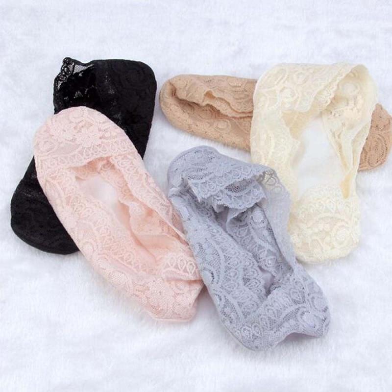PLOFR-B12 Women Lace Cotton Invisible Non Slip Lace Boat Liner Low Cut Socks