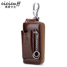 CICICUFF Genuine Leather Key Wallet Mens Cowhide Car Wallets Holder Pouch Bag Case Organizer Housekeeper Ring Cover Male