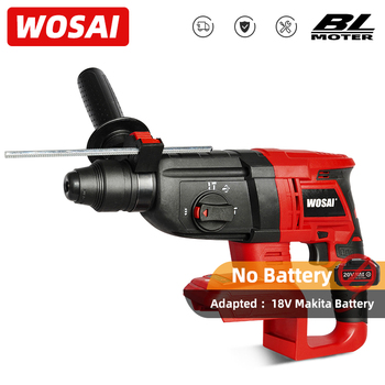 WOSAI Electric Impact Drill Rotary Hammer Brushless Cordless Hammer Electric Drill for 18V Makita Lithium Battery rotary hammer kraton rh 1050 38s