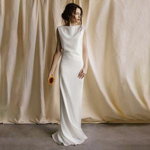 Image 2 - Vestido de novia de seda de 40mm con Espalda descubierta, traje de novia de seda pura hecha a medida, de satén, sencillo, para viajes al bosque