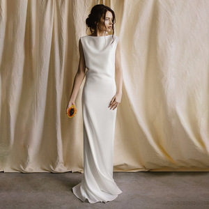 Image 2 - tailor shop custom made pure silk heavy silk 40mm wedding dress silk satin simple forest travel brides backless small trailing