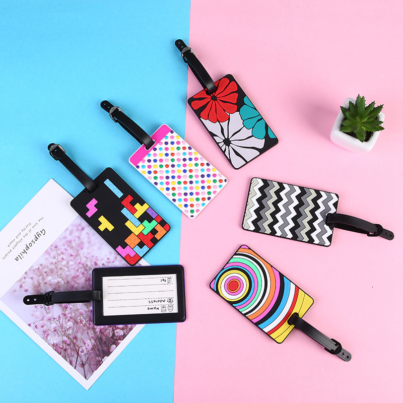 Travel Accessories Silica Gel Luggage Tag Creative Rainbow Flower Suitcase ID Address Holder Baggage Boarding Tag Portable Label