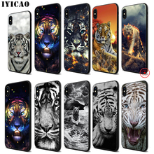 IYICAO Abstract tiger white Soft Black Silicone Case for iPhone 11 Pro Xr Xs Max X or 10 8 7 6 6S Plus 5 5S SE